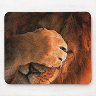 Shy Lion Paw Animal Mouse Mat