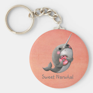 Shy Narwhal with Donut Basic Round Button Key Ring
