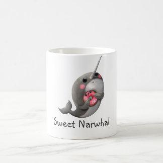 Shy Narwhal with Donut Basic White Mug