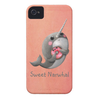 Shy Narwhal with Donut iPhone 4 Case-Mate Case