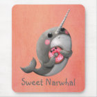 Shy Narwhal with Doughnut Mouse Mat