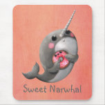 Shy Narwhal with Doughnut Mouse Pad