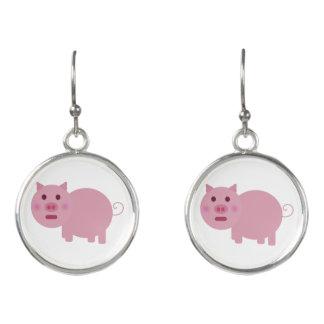 Shy Pink Pig Earrings