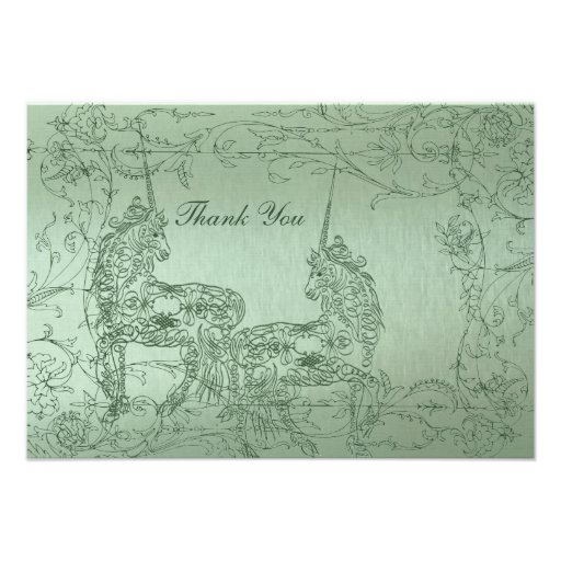 Shy Unicorn Green Metallic Flat Thank You Notes Personalized Announcement