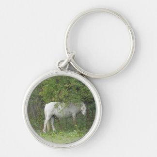 Shy White Horse Keychain