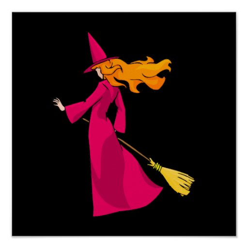 Shy Young Witch in Pink Posters