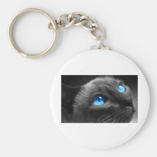 Siamese Blue Eyes Basic Round Button Key Ring