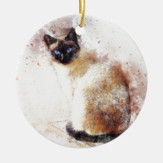 Siamese Cat Abstract Elements Christmas Ornament
