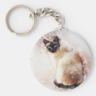 Siamese Cat Abstract Elements Key Ring