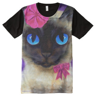 Siamese Cat All-Over Printed Panel T-Shirt All-Over Print T-Shirt