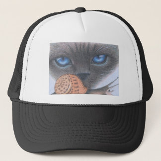 Siamese cat and snail trucker hat