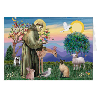 Siamese Cat and St Francis Greeting Card