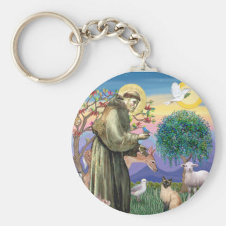 Siamese Cat and St Francis Key Ring