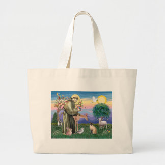 Siamese Cat and St Francis Large Tote Bag