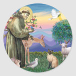 Siamese Cat and St Francis Round Sticker