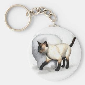 Siamese Cat and Vase Portrait Key Ring
