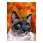Siamese Cat Art Fire and Ice painting Postcard