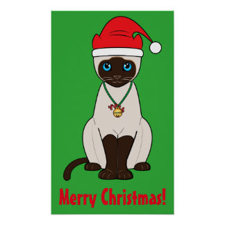 Siamese Cat at Christmas with Santa Hat on Green Poster