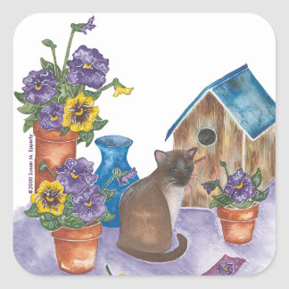 """Siamese Cat Birdhouse Pansies Watercolor """"Anthony"""" Square Sticker"""