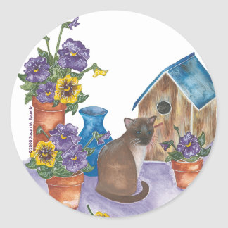 """Siamese Cat Birdhouse Pansies Watercolor """"Anthony"""" Round Sticker"""