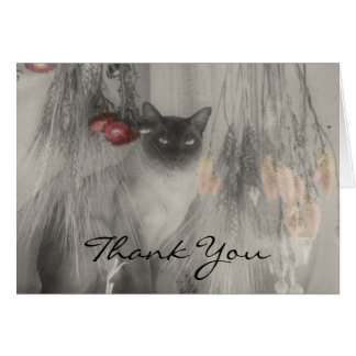 Siamese Cat Black White Partial Color Thank You Note Card
