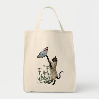 Siamese Cat Butterflies Daisy Flowers Grocery Tote Bag
