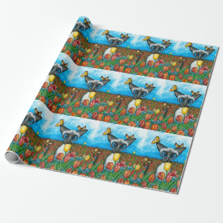 Siamese Cat Butterflies Tulips BiHrLe Gift Wrap Wrapping Paper