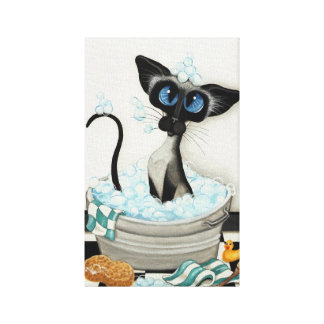 Siamese Cat by BihrLe Bath Canvas Art Print Gallery Wrapped Canvas
