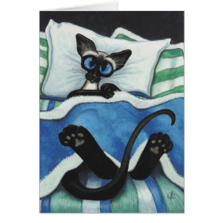 Siamese Cat by BiHrle Blank Card