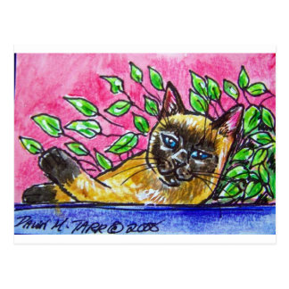 SIAMESE CAT BY FLOWERS POSTCARD
