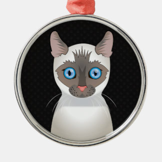 Siamese Cat Cartoon Paws Christmas Ornament