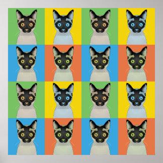 Siamese Cat Cartoon Pop-Art Poster