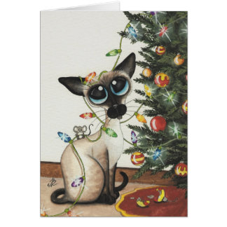Siamese Cat Christmas Lights By AmyLyn Bihrle Card