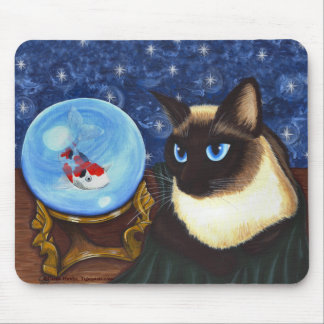 Siamese Cat Crystal Ball Koi Fortune Art Mousepad