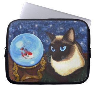 Siamese Cat Crystal Ball Koi Fortune Laptop Sleeve