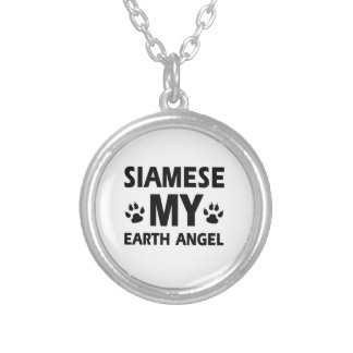 SIAMESE CAT DESIGN SILVER PLATED NECKLACE