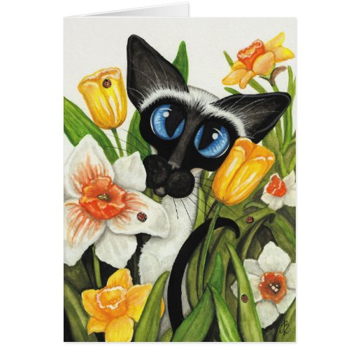 Siamese Cat Easter Spring Card