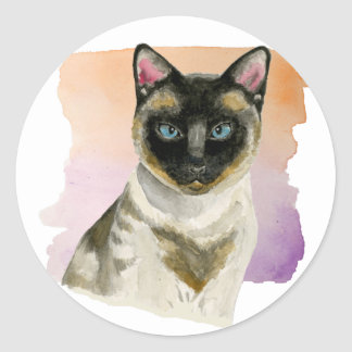 Siamese Cat Elegant Watercolor Painting Classic Round Sticker