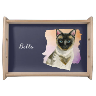 Siamese Cat Elegant Watercolor Painting Serving Tray