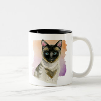 Siamese Cat Elegant Watercolor Painting Two-Tone Coffee Mug