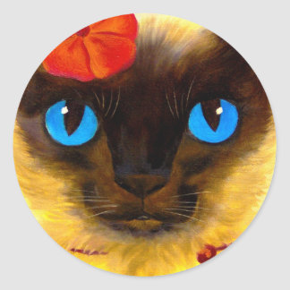Siamese Cat Feline Art Painting - Multi Classic Round Sticker