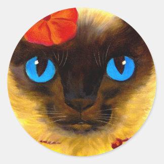 Siamese Cat Feline Art Painting - Multi Round Sticker