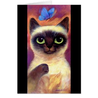 Siamese Cat Feline Butterfly Art - Multi Greeting Card
