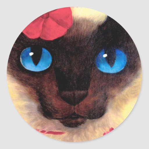Siamese Cat Feline Pet Painting - Multi Stickers