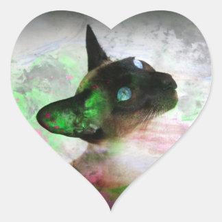 Siamese Cat Grunge Paint Sticker