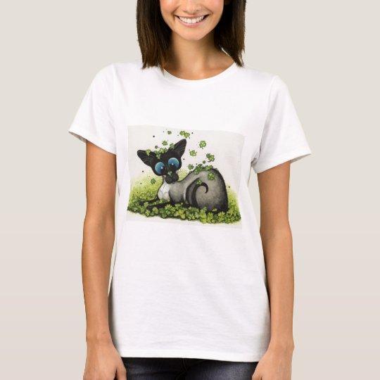 Siamese Cat Lucky Shamrock St Patricks Day -BiHrLe T-Shirt