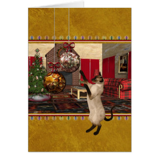 Siamese Cat - Merry Christmas - Personalized Card