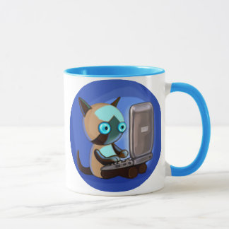 Siamese Cat on a laptop mug