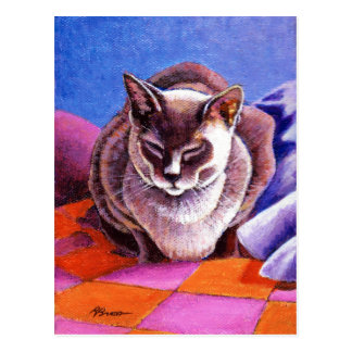 Siamese Cat on a Patchwork Quilt Postcard