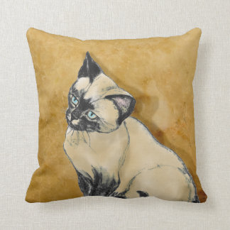 Siamese Cat on Gold Cushion
